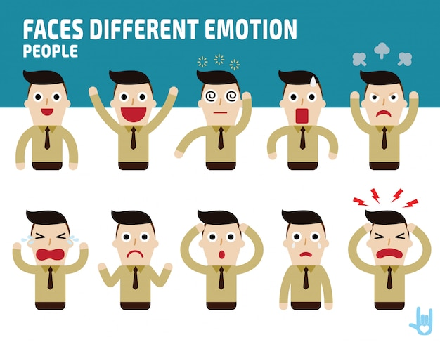 Cara enfrenta mostrando diferentes emoções.