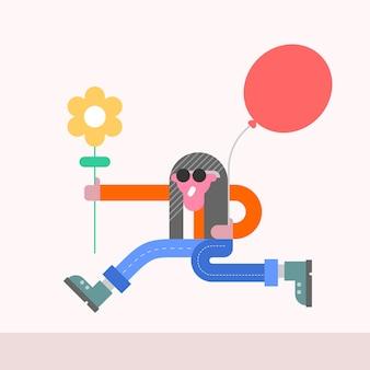 Cara engraçado com flor e balão festivo se apressa para parabenizar alguém ilustração.