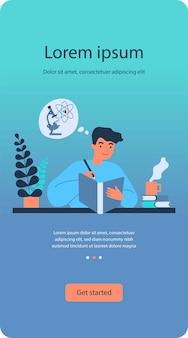 Cara estudante estudando química