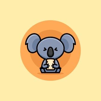 Cara feliz bonito koala comendo pão