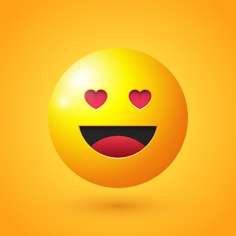 Cara feliz com olhos de amor emoji