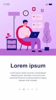 Cara feliz usando o computador para ilustração de bate-papo online