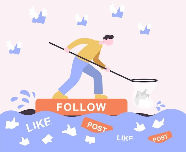 Cara flutua em uma jangada de seguidores e coleta itens curtidos color flat cartoon icon conceito para blogueiro
