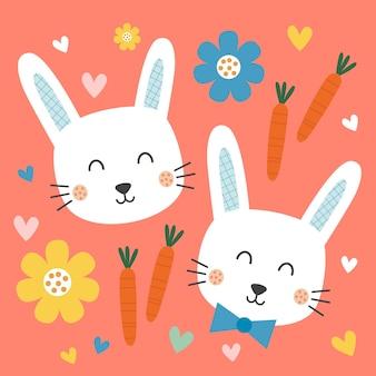 Cara fofa de coelho com cenoura e desenho de flores