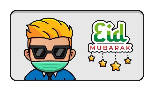 Cara fofo com eid mubarak cumprimentando