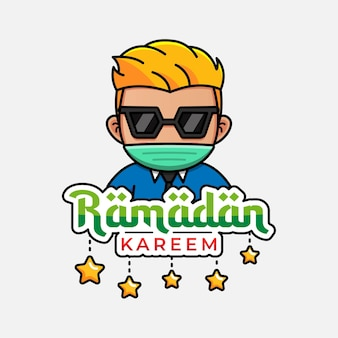 Cara fofo com ramadan kareem cumprimentando