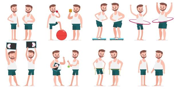 Cara gordo e magro com ilustração do conceito de esporte hule hoop