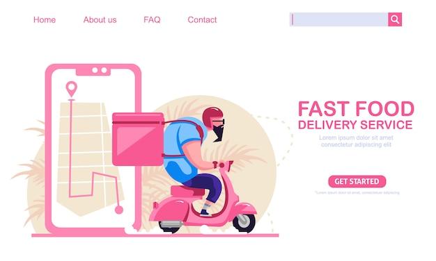 Cara grande equitação scooter moto vintage carregando caixas serviço de entrega de fast-food. mapa de telefone móvel em segundo plano. ilustração do conceito de compras online