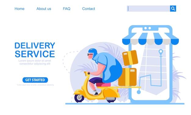 Cara grande equitação scooter moto vintage carregando caixas serviço de entrega expressa. mapa de telefone móvel em segundo plano. ilustração do conceito de compras online