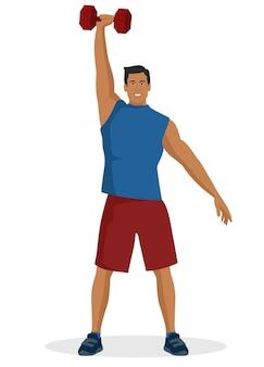 Cara jovem fazendo exercícios usando halteres levantamento