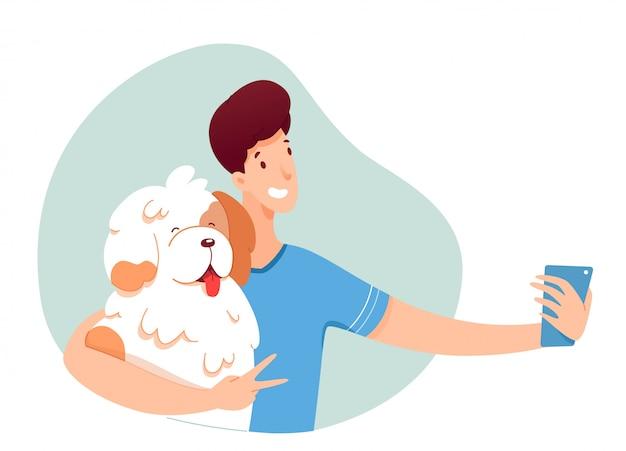 Cara jovem, fazendo selfie com seu cachorro