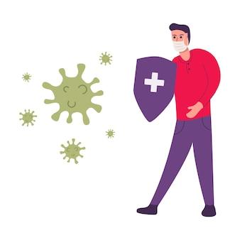 Cara jovem luta contra surto de coronavírus com um escudo. homem usando máscaras faciais. o vírus ataca o trato respiratório. pandemia de saúde médica. epidemia de covid-19, proteção contra pandemia.