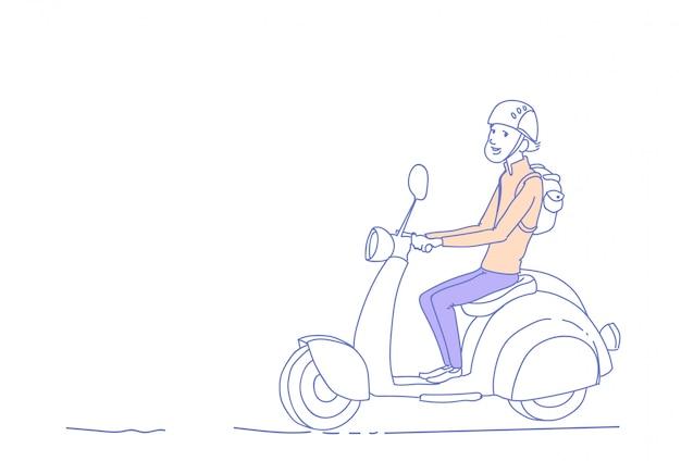 Cara jovem, montando scooter elétrico moto vintage isolado homem personagem esboço doodle horizontal