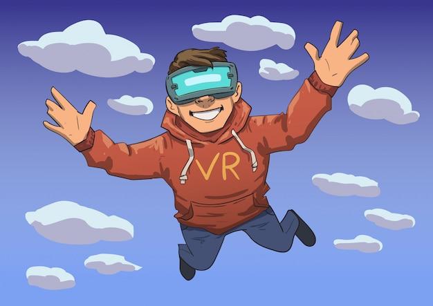 Cara jovem no fone de ouvido vr voando no céu. criança feliz na realidade virtual. ilustração de linha colorida. horizontal.
