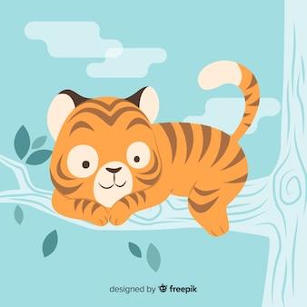 Cara lindo tigre com design plano