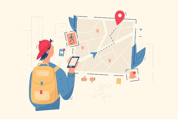 Cara olha no mapa de navegação