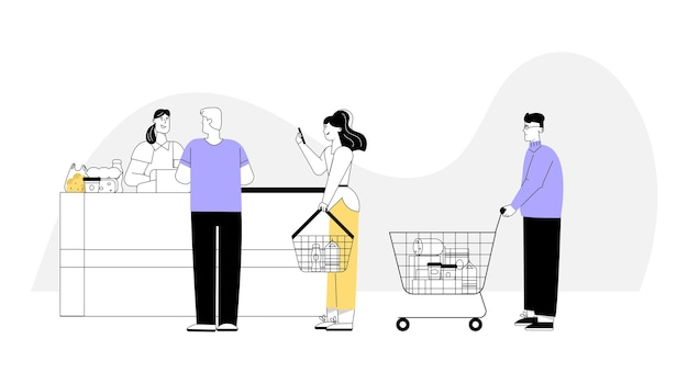 Cara pagando compras no caixa.