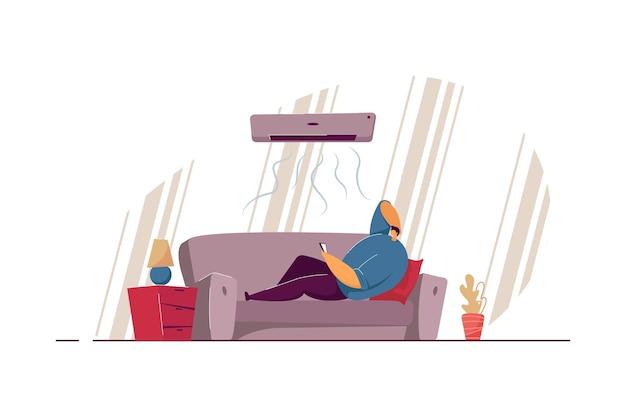 Cara preguiçoso deitado no sofá, sob o ar condicionado, ilustração plana isolada