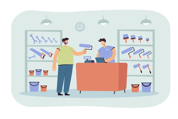 Cara sorridente, comprando rolo de pintura em ilustração plana de loja de ferramentas. vendedor de desenhos animados atendendo e aconselhando o cliente