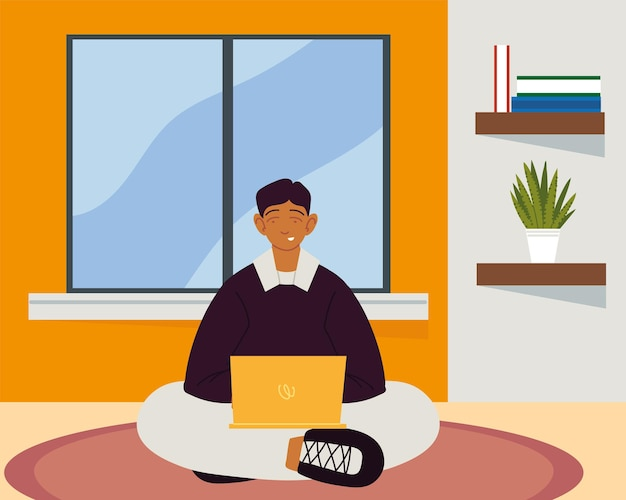 Cara trabalhando em casa com laptop