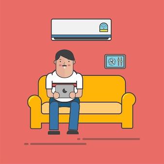 Cara usando é tablet no vetor de sofá