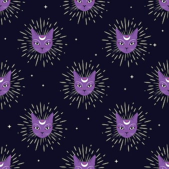 Cara violeta do gato com a lua no fundo sem emenda do teste padrão do céu noturno.