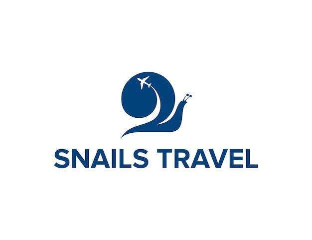 Caracóis e viagens de avião simples, elegante, criativo, geométrico, moderno, logotipo, design
