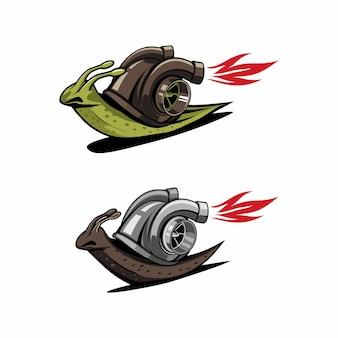Caracol com logotipo de velocidade turbo