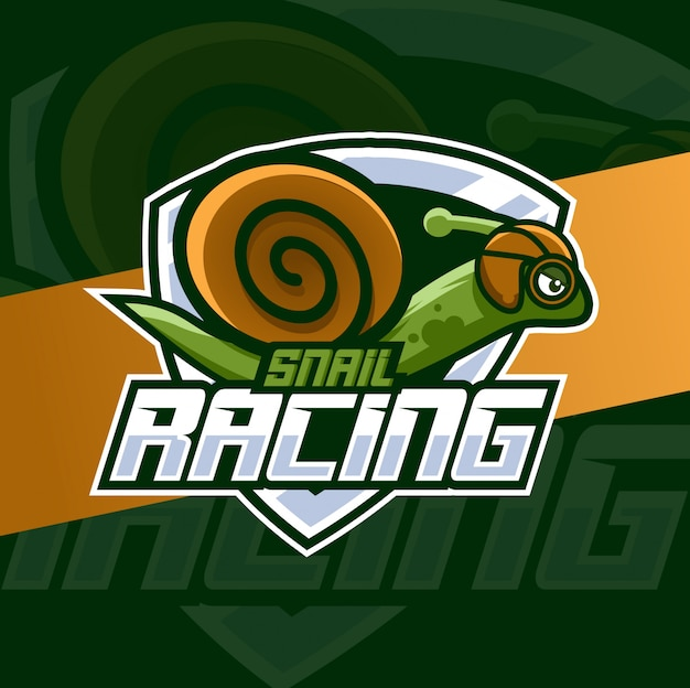 Caracol corrida mascote esport logotipo design