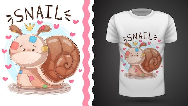 Caracol de peluche - ideia para impressão t-shirt