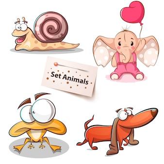 Caracol, elefante, cachorro sapo - conjunto de animais