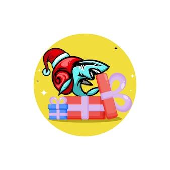Caracol tubarão, presente de natal, personagem de logotipo fofo