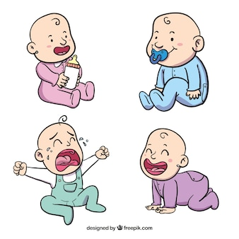 Caracteres bebê desenhados à mão com diferentes pijama