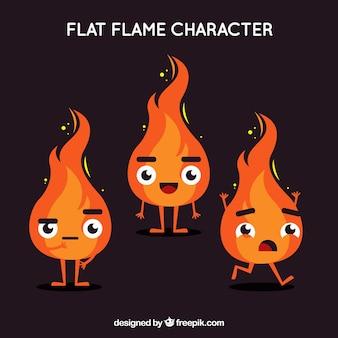 Caracteres de chama em design plano