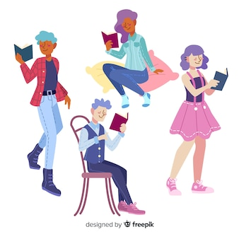 Caracteres de grupo que leem o desenho