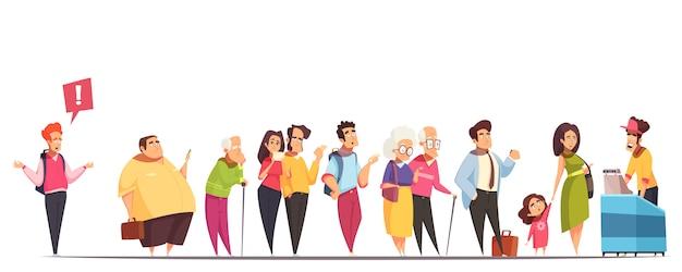 Caracteres de pessoas na fila