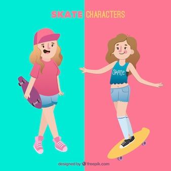Caracteres de skate do sexo feminino