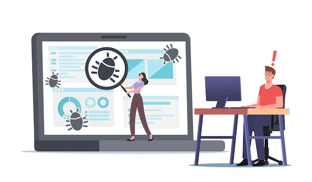 Caracteres do programador detectam bugs, processo de depuração, programação, codificação, criação de aplicativo. desenvolvimento e teste de aplicativos. software antivírus e construção de sites. ilustração em vetor desenho animado