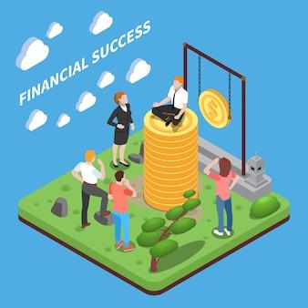 Caracteres humanos de composição isométrica de sucesso financeiro, olhando para o homem em cima da pilha de dinheiro