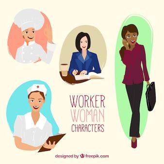 Caracteres mulher trabalhador