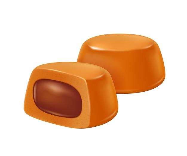Caramelo caramelo com ilustração realista de enchimento de chocolate.
