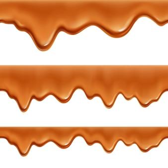 Caramelo derretido caramelo doce revestimento de salsicha 3 realista apetitoso fronteira decorativa apetitosos padrões conjunto isolados