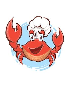 Caranguejo chef mascote personagem de desenho animado