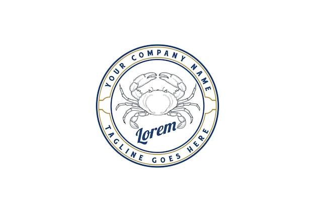 Caranguejo circular vintage retrô para restaurante de frutos do mar ou vetor de design de logotipo de rótulo de produto