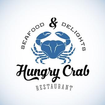 Caranguejo com fome restaurante abstrato retrô logotipo modelo ou rótulo vintage com tipografia