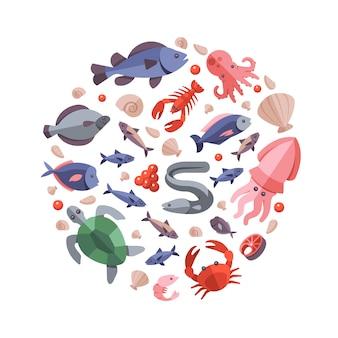 Caranguejo de comida do mar de cor e caracol, crachá de ilustração de ostra, atum, tartaruga e câncer de forma redonda