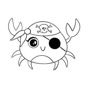 Caranguejo de pirata de estilo doodle isolado no branco. página para colorir de animais piratas