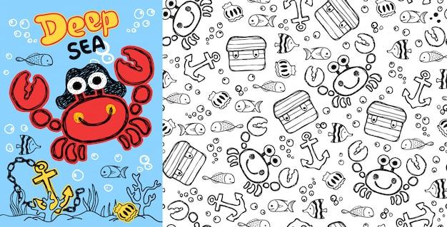 Caranguejo dos desenhos animados com peixes no padrão sem emenda