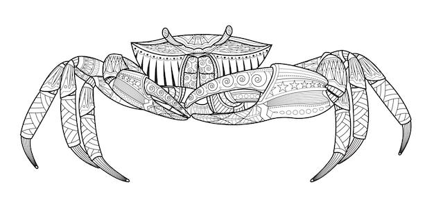 Caranguejo, mão, desenhado, animal mar