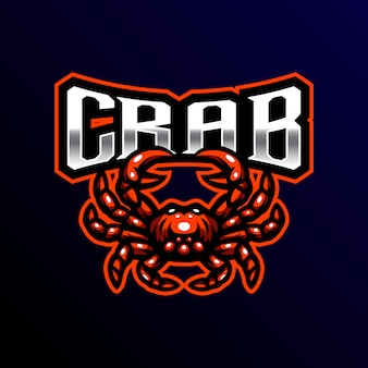 Caranguejo mascote logotipo esport jogos ilustração